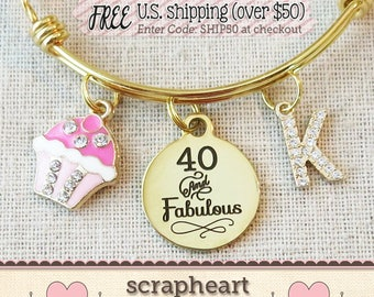 40th Birthday Gifts for Women, GOLD 40 and Fabulous Bling Cupcake Stackable Bangle, Birthday Jewelry, PERSONALIZED Milestone Jewelry for Her