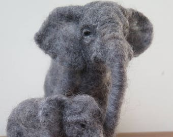 Needle felted elephant. Made to order needle felted animal