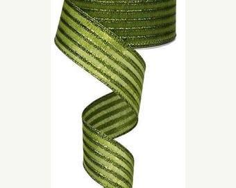 """Sale 1.5"""" x 10yd  metallic stripe lime green ribbon, lime green ribbon, wired lime green ribbon, metallic lime green ribbon, wired, ribbon"""