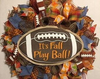 SALE Fall Football Wreath, Fall Wreath, Football Wreath, It's Fall Play Ball Wreath, Fall Burlap Mesh Wreath, Fall Door Wreath, Fall Mesh Wr