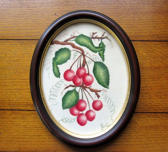 Original Painted Cherries On Velvet Professionally Framed Oval Wood Farmhouse Wall Decor