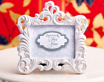White Baroque-Style Photo Frame Place Card Holder - Wedding Bridal Shower Party Favor 20-72 Qty  FC6575