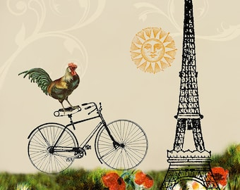 Rooster Decor, Bike Art, Eiffel Tower Print, Cheerful Art, Bicycle Wall Art, Rooster Artwork, Whimsical Art, Girls Bedroom Decor