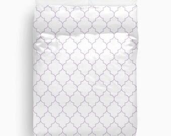 Lavender Duvet Cover, Purple Bedding, Quatrefoil, Girls Bedroom Decor, Teen Girl Room Decor, Queen Duvet Cover, Twin Bedding, King Duvet