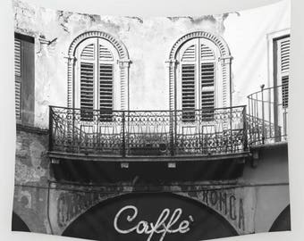 Italy Wall Art, Verona, Photo Tapestry, Black and White Photography, Coffee Shop Decor, Extra Large Wall Decor, Italy Gift