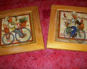 Set of two framed patterns vintage kitchen