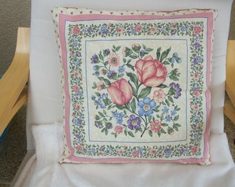 Hand stitched floral cushion