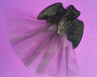 Black Sequin Bat Fascinator with Veil