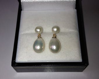 18ct Gold over Sterling Silver White Freshwater Pearl Drop Earrings.