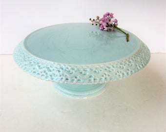 vintage ceramic cake stand light blue pedestal cake stand blue cake stand with lace