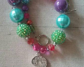 """Adorable """"3"""" Bubble Gum Bead Necklace"""