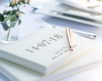 Special Date Guest Book, Ivory Leather Guest Book, Wedding, Birthday, Graduation Party (OHSO773)