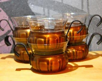 Vintage Mid Century Modern Schott Mainz Jenna Glass CupsVintage Glass Tea Copper Cups Mid Century Modern Coffee Tea Set Retro Set