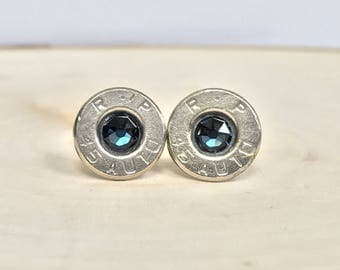 45 Auto and Navy Blue Crystal Bullet Earrings