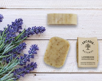 Organic Lavender buds exfoliating soap, Moisturizing soap, Natural gentle exfoliating soap, Vegan Soap, Handcrafted Soap Bar