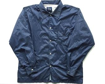 90s stussy s80 windbreaker jacket size XL collared button up jacket dark blue