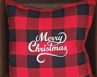Merry Christmas Buffalo Plaid Pillow, Holiday Pillow, Christmas Gift, Throw Pillow, Gifts Under 50, Christmas Decor, Cabin Decor, Rustic