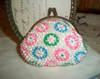 Petite Groovy Coin Purse Pink Green Blue w Clear Beads Kiss Lock Closure 1980's Retro Mid Century Mad Money Coin Purse Collectible