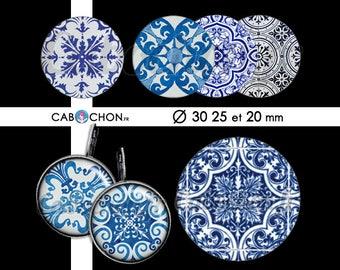 Azulejos •  45 Images Digitales RONDES 30 25 et 20 mm azulejo portugal ceramique lisboa lisbonne porto mosaique motif pattern psychedelique