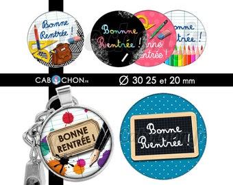 Bonne Rentrée ! • 45 Images Digitales RONDES 30 25 20 mm Ecole maîtresse school ecole ardoise porte clé bijoux badge