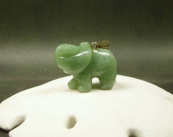 Jade Elephant Pendant/ Carved Jade Elephant Necklace/ Lucky Elephant/ Natural Green Jade