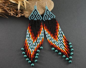 Long earrings Boho earrings Dangle earrings Aquamarine blue earrings Beaded earrings Dainty earrings Ocean jewelry Modern earrings for girl