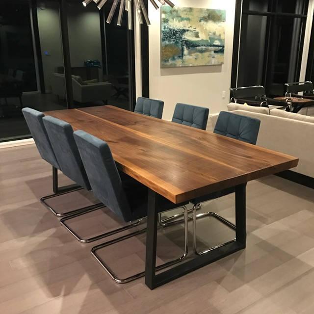 Live edge dining table walnut with steel trapezoid legs, Walnut natural edge, unique dining table, walnut slab table