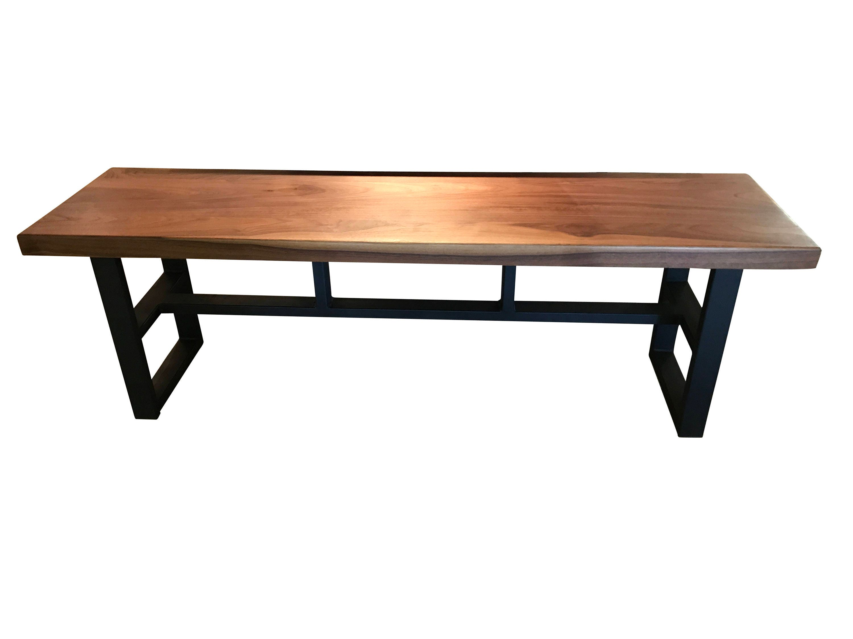 Walnut Bench top with Custom Steel tube Base