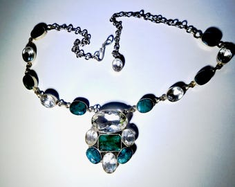 Natural Emerald and Clear Quartz Sterling Necklace