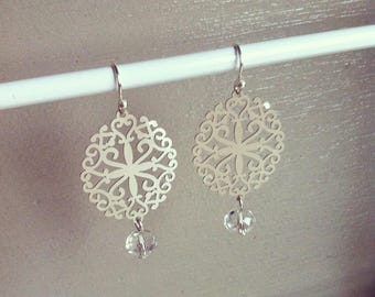 Very fine Silver earrings prints and pearls Crystal