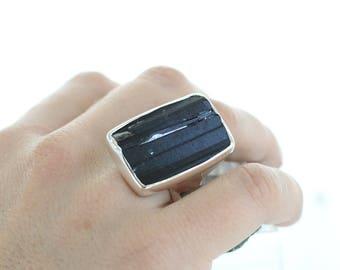 Silver Ring Black Raw Tourmaline. Natural Stone. Gemstone Ring. Black Tourmaline Jewel. Raw Stone Ring. Tourmaline silver ring.apsarasV ring