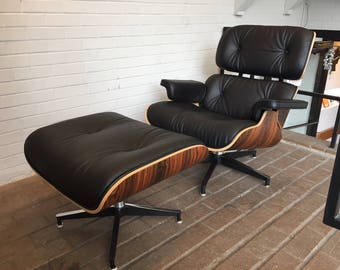 eames replica charles leather lounge chair and ottoman in italian leather walnut or santos palisander