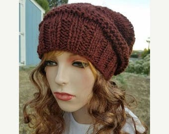 15% OFF SALE Handknitted slouchy hat, Ready to ship, Knitted hat, Knitted beanie, winter hat, Redish Mahogany hat, knitted women's hat