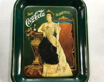 Vintage Collectible 1970's Coca-Cola Metal Serving Tray 75th Anniversary Lillian Nordica, Drink Coca Cola in Bottles