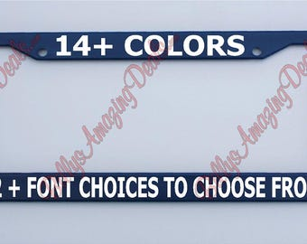 Custom Text Royal Blue License Plate Frame Plastic Tag Holder Personalize Customized Funny Vinyl Phrase Auto Car Accessories Funny Humor