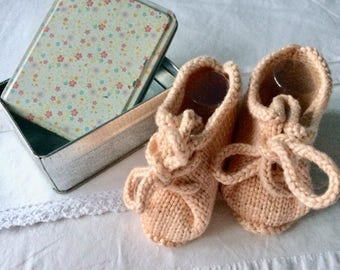 Pink knitted baby booties handmade booty infant with laces, christening gift, handmade baby girl booties, knitted baby clothes, lace up shoe