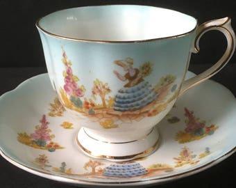 Rare Royal Albert Blue Dainty Dinah Cup and Saucer