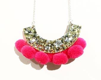 Gold and silver glitter necklace with neon red pom poms, statement necklace, laser cut necklace