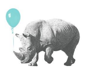 Rhino Blue Balloon Nursery Decor 5x7 - Nursery Decor Nursery Printable Art Digital