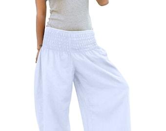 Thai Pants * Harem Pants * Harem Trousers * Sarouel * Yoga Pants * Baggy Pants * Travel * Gypsy * Hippie * Aladdin * Genie *Cotton*PS-white