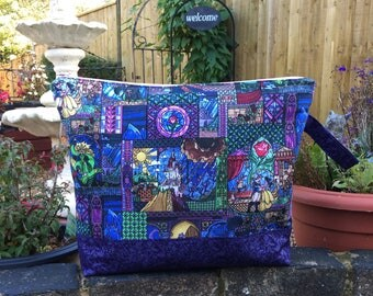 Beauty and the Beast Stained Glass craft project storage bag in 3 sizes