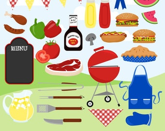 80% OFF SALE BBQ Clipart, Cookout Clipart, Grill Clipart, Hamburgers, Summer, Picnic, Printable, Commercial Use