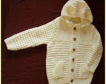 Big Cardigan in ecru with detachable hood - 14/16 years