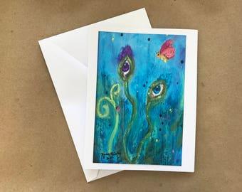 Garden of Eyes, Fun art note card,