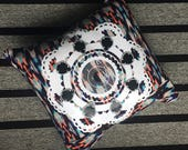 Hand embellished patterned Sofa CUSHION with a bold white mandala print. Scatter cushion. Home Interiors.