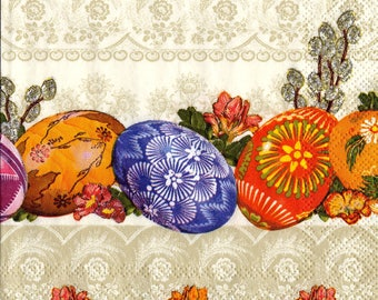 "6 Decoupage Paper Napkins Easter 25x25 cm. 10""x10"" set of 6 pcs"