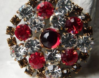Vintage Czech Handmade Rhinestone Button~Round~rootbeer~red jelly~red~clear~1-5/16""