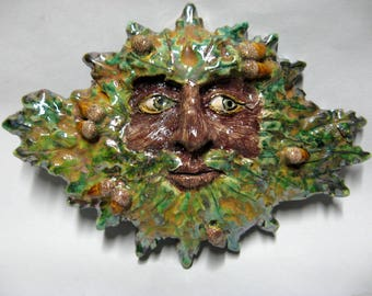 Green Man - Symbol Of Rebirth (Spring) Wall Hanging - Handmade And Raku Fired Studio Pottery