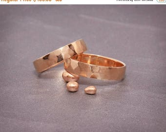 SALE Christmas in July 14K Rose Gold Faceted Wedding Bands Set | Handmade textures rings set 3mm, 4mm, 5mm, 6mm | His&Hers Faceted Bands Set