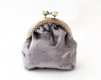 Lilac coin purse. Velvet coin purse